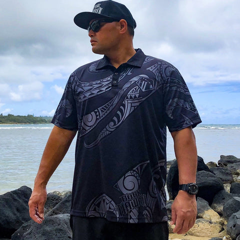 Born Hawaii Polo BLACK POLYNESIAN TATTOO POLO SHIRT