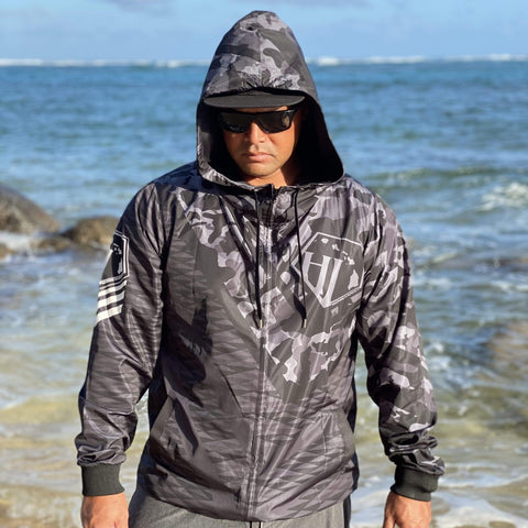Born Hawaii PRE-ORDER KUOKOA WINDBREAKER JACKET GREY CAMO