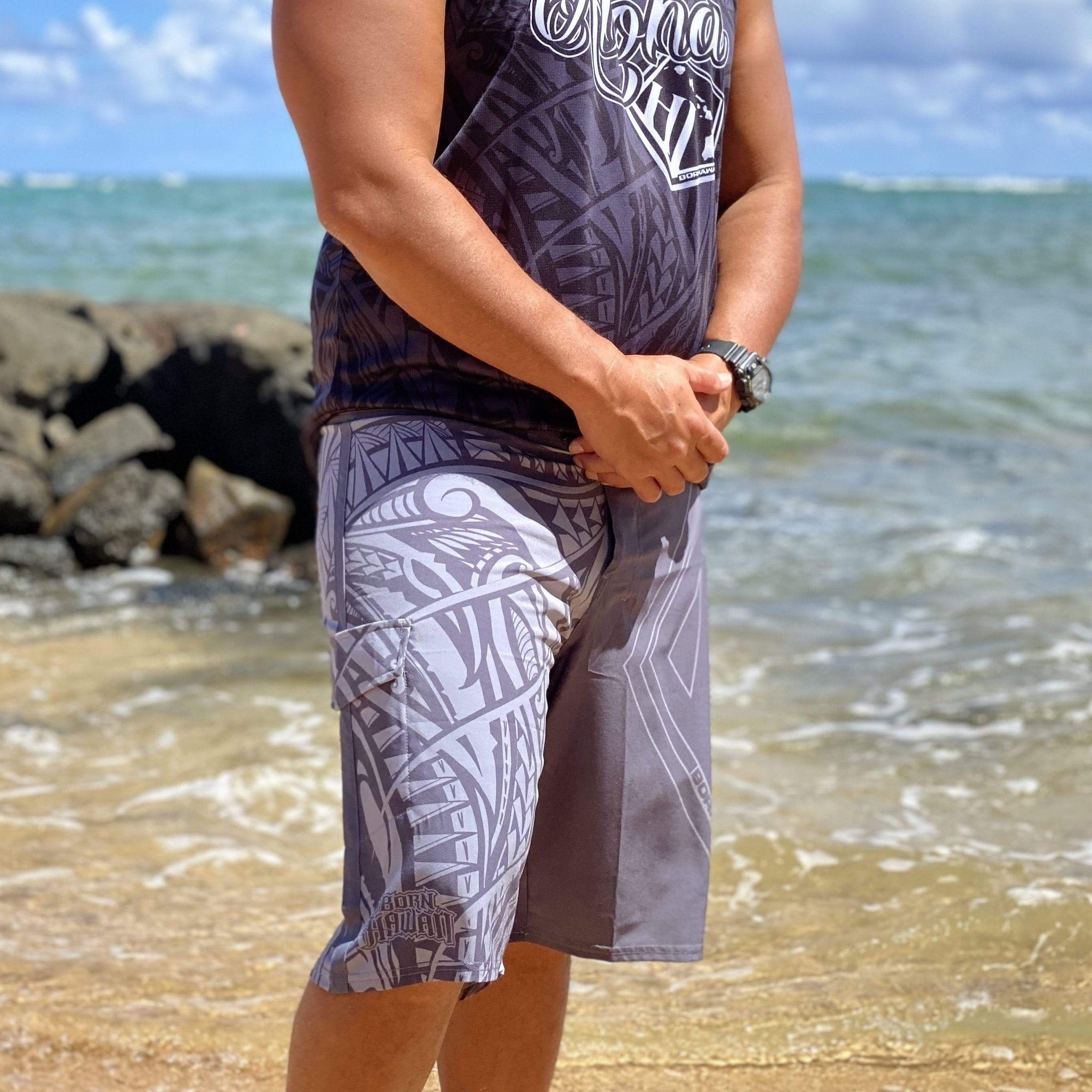 Born Hawaii Shorts POLY TAT SURF SHORTS GREY