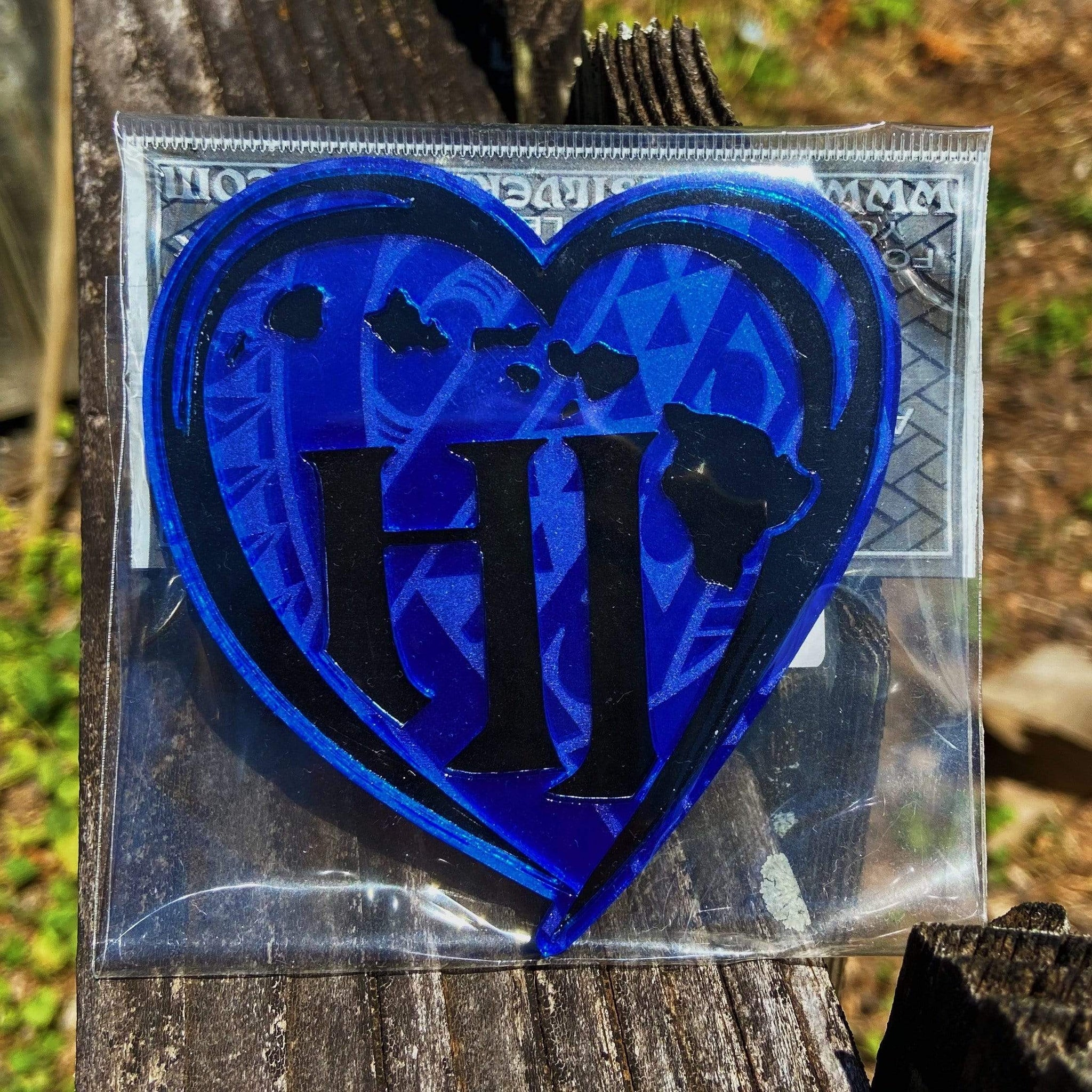 Born Hawaii Sticker BLUE SMALL HEART LOGO ACRYLIC DECAL BLUE