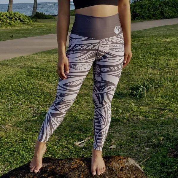 Born Hawaii Womens Grey and Taupe POLY Tat Legging