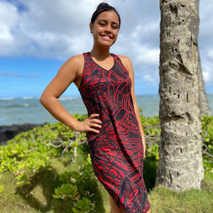 Born Hawaii Womens LAU RED RAZORBACK DRESS
