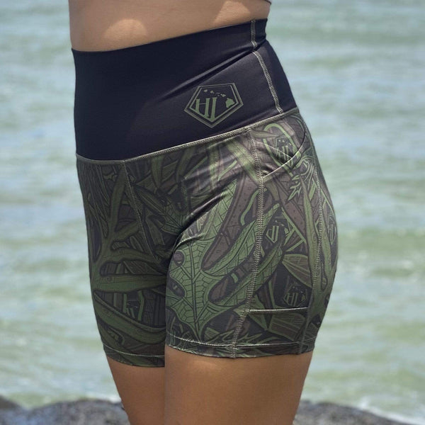 Born Hawaii Womens LAUAE SPANDEX SHORTS CAMO