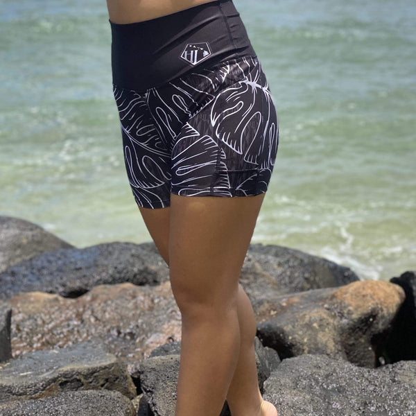 Born Hawaii Womens MONSTERA SPANDEX SHORTS BLACK WHITE