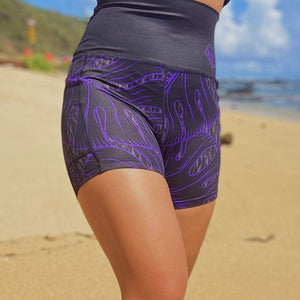 Born Hawaii Womens MONSTERA SPANDEX SHORTS PURPLE BLACK