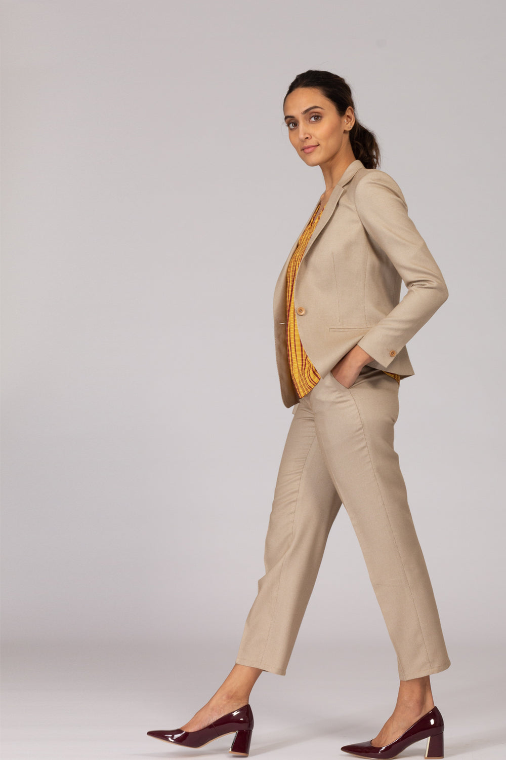 Beige Formal Suit - Trousers and Blazer
