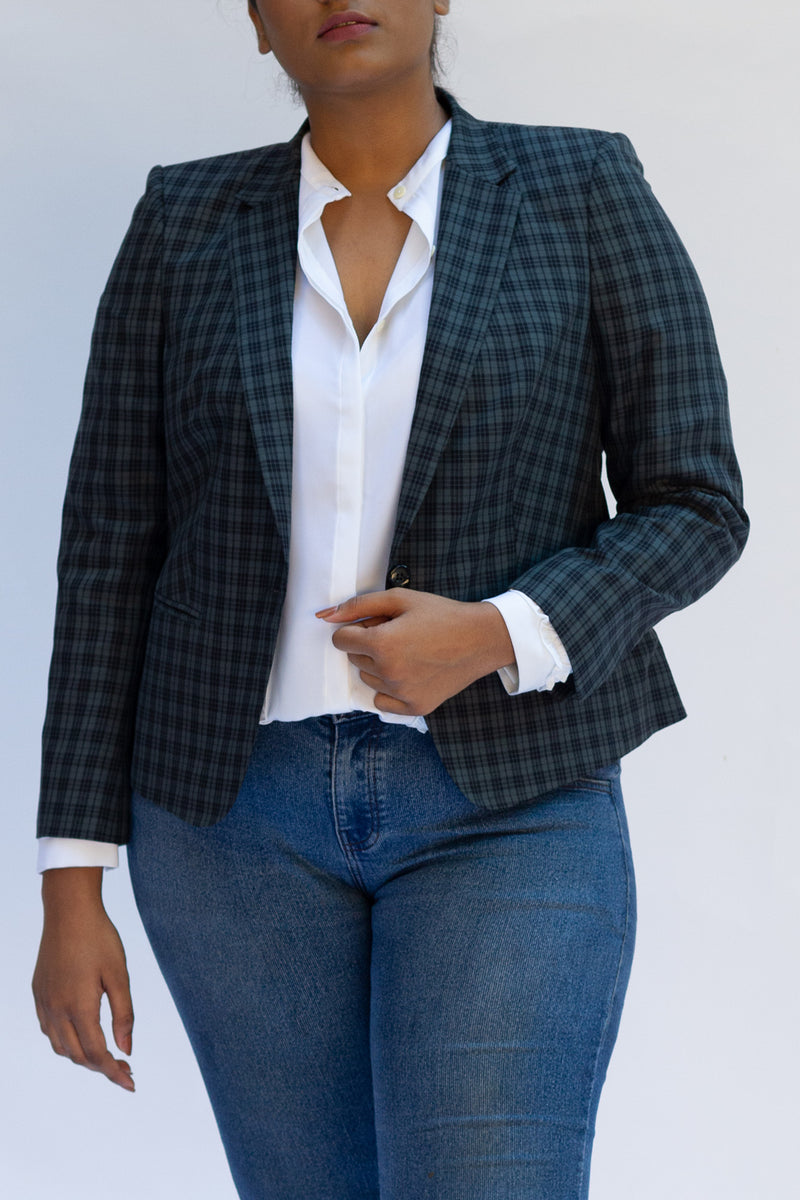 Green Plaid Jacket in Cotton