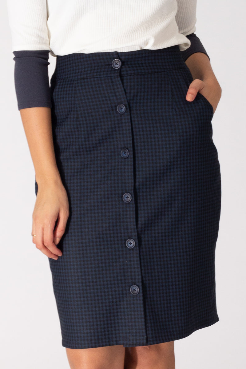 Blue Houndstooth Button Down Skirt