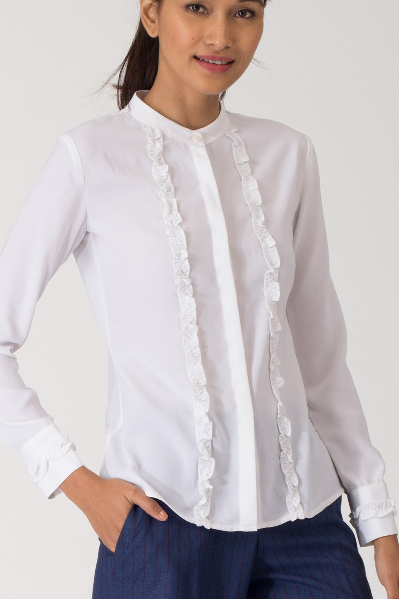 Moreno Ruffled Mandarin Collar Shirt