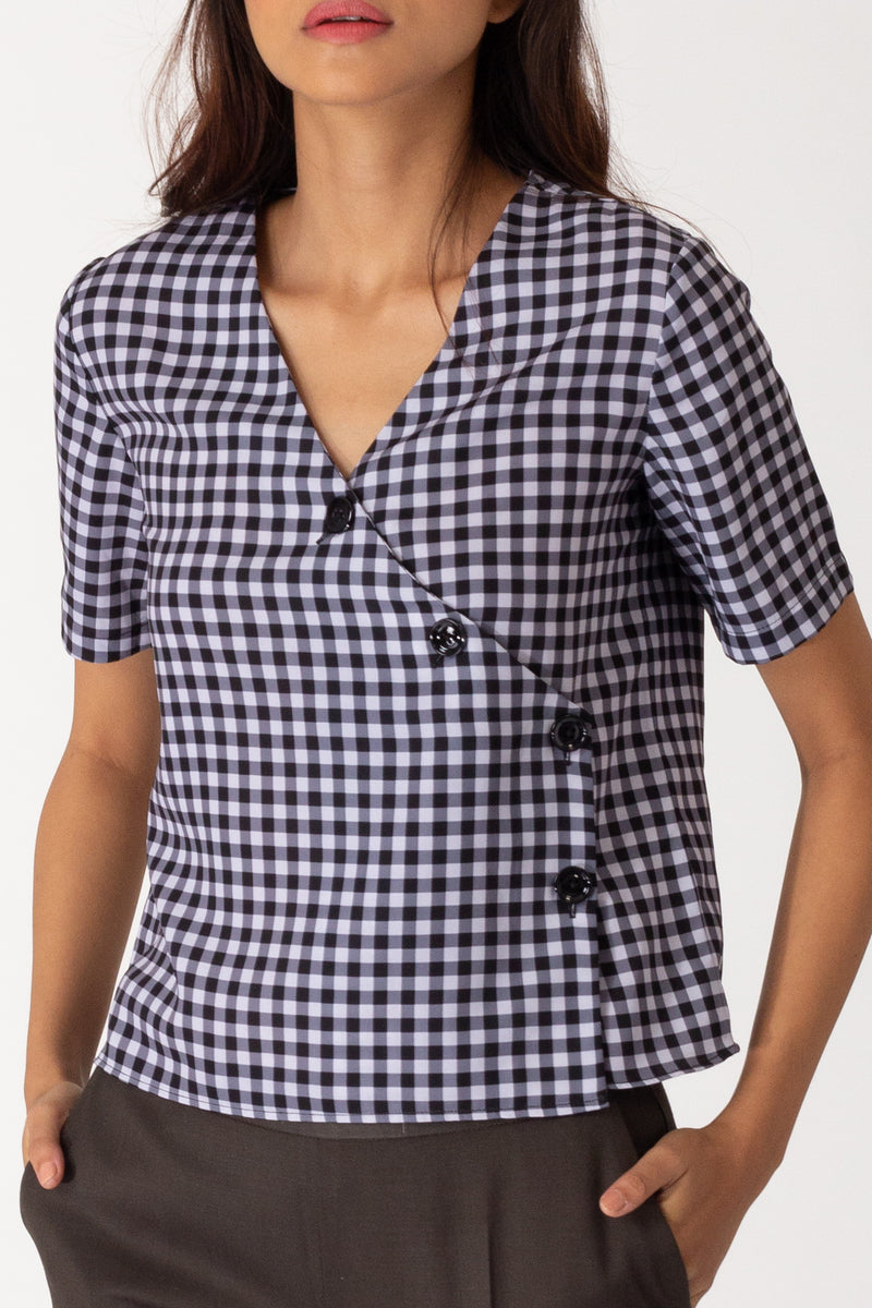 Gingham Cross Button Shirt