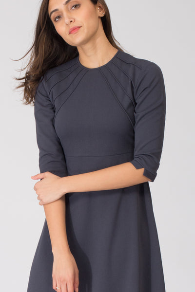 Grey Sun Fit and Flare Dress