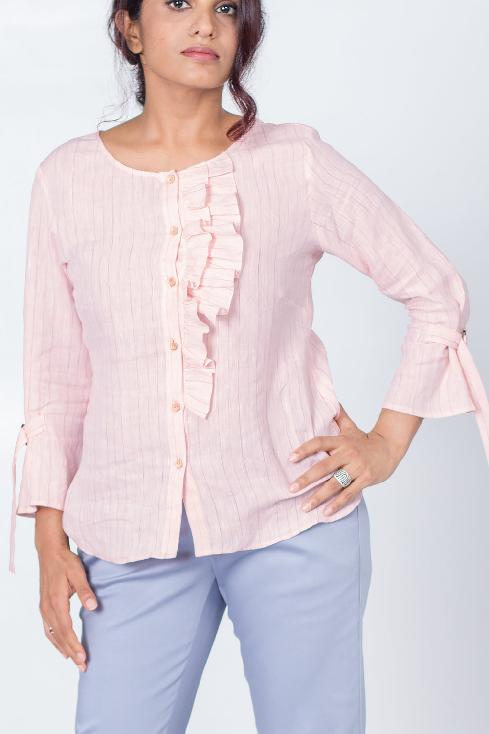 Stanley Ruffled Shirt with buckled sleeve