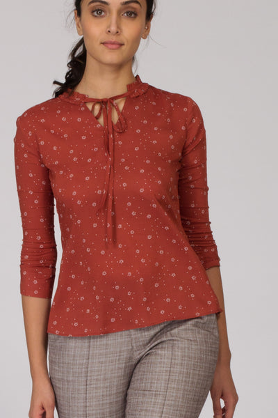 Copper Floral Cotton Printed top