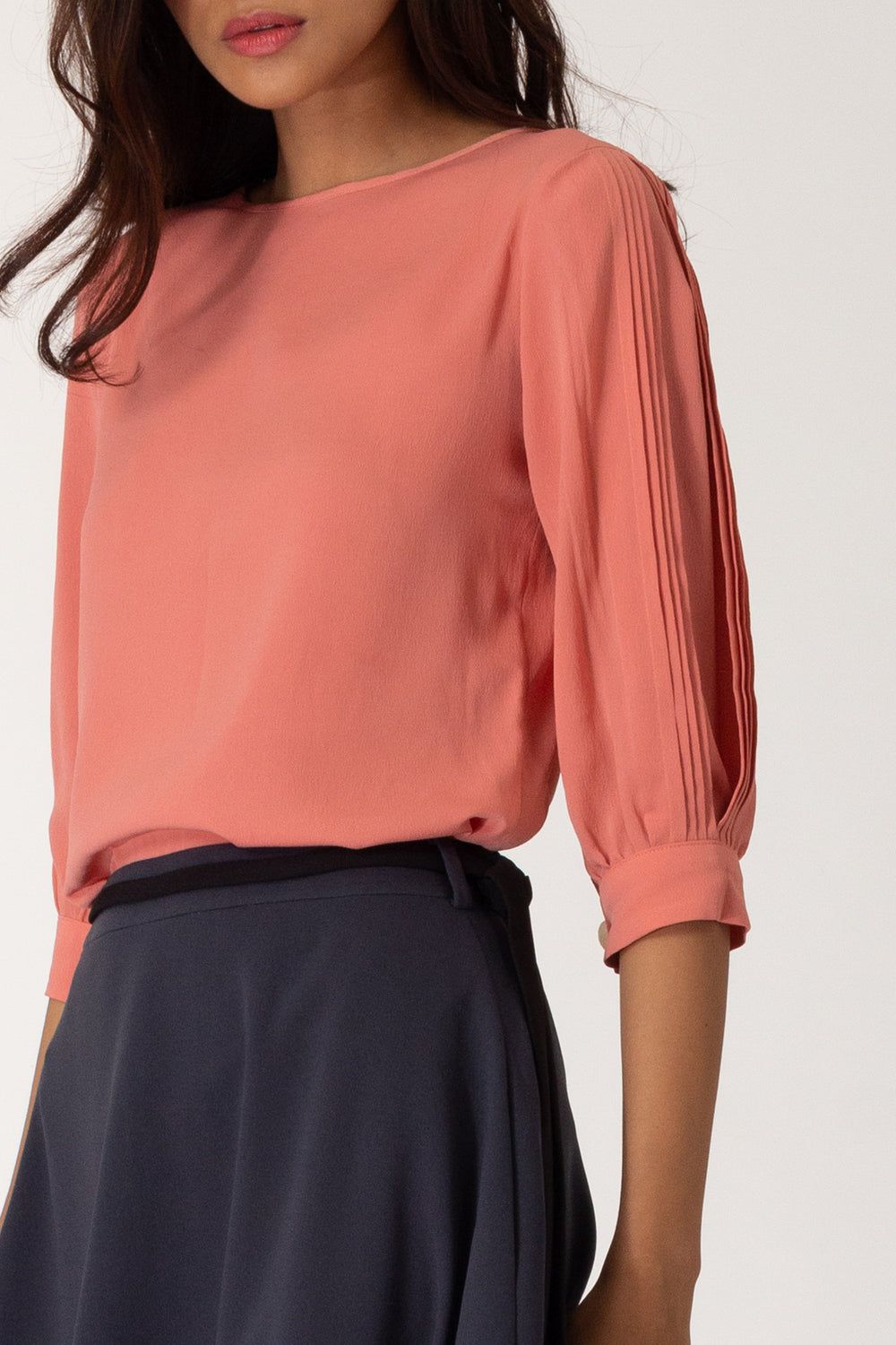 Shauman Pleated Sleeve Blouse