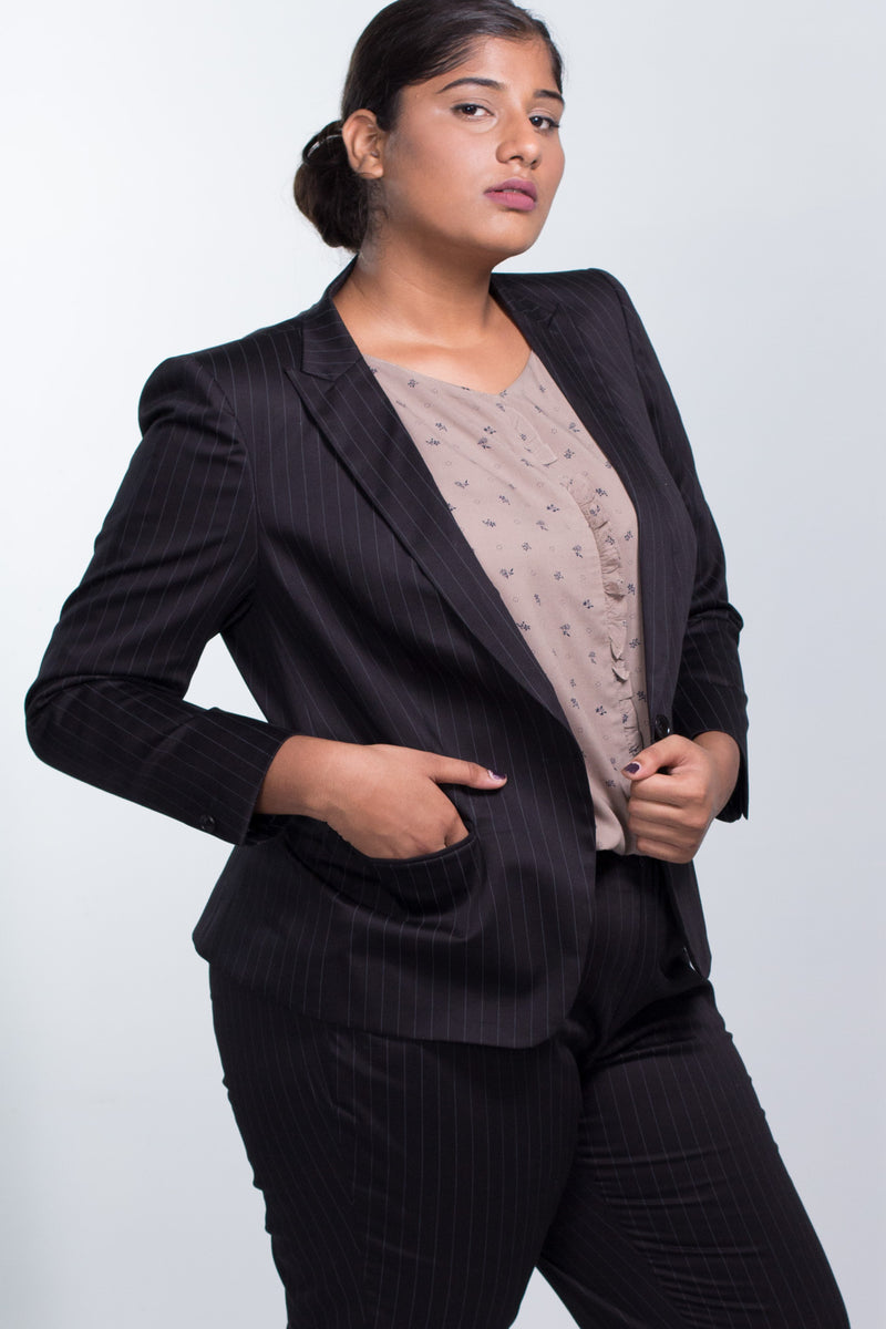 Black Pinstripe Blazer in Cotton