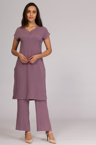 Lila Ruffle Neck Tunic with Pants
