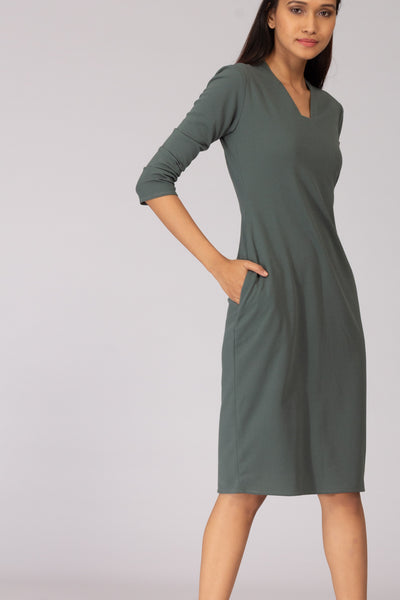 Moscow Shift Dress with Pleated Sleeve