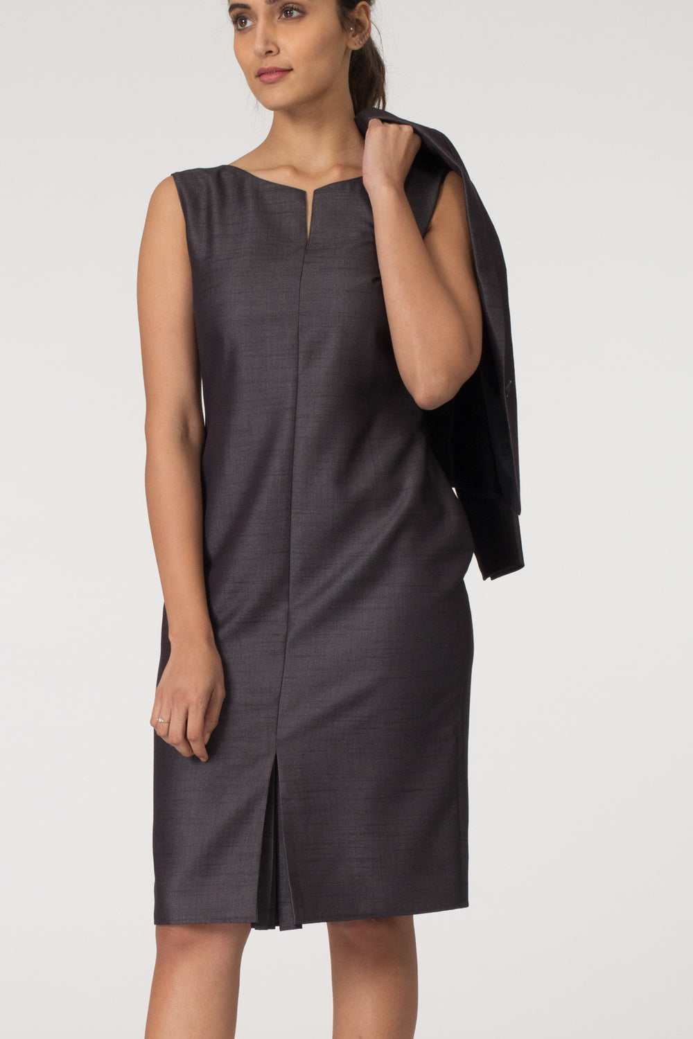 Charcoal Kickpleat Shift Dress