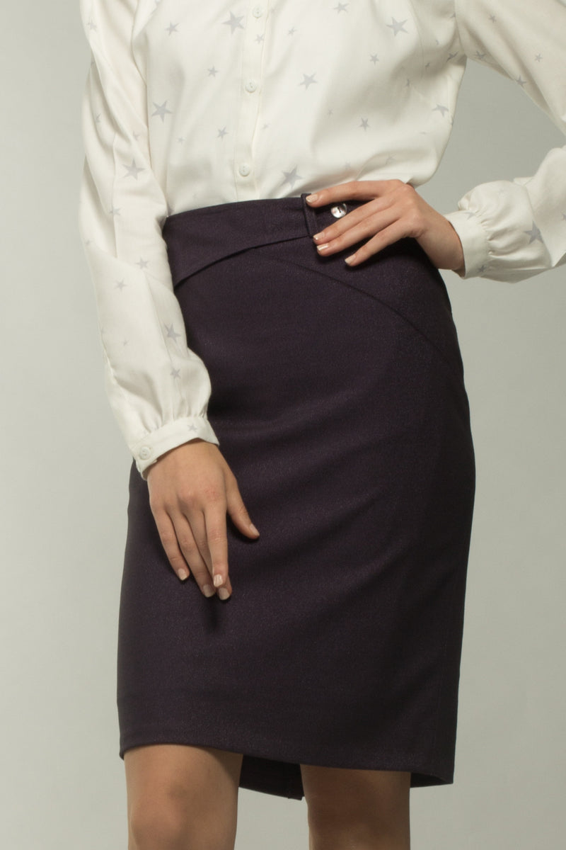 Arch Button Front Skirt