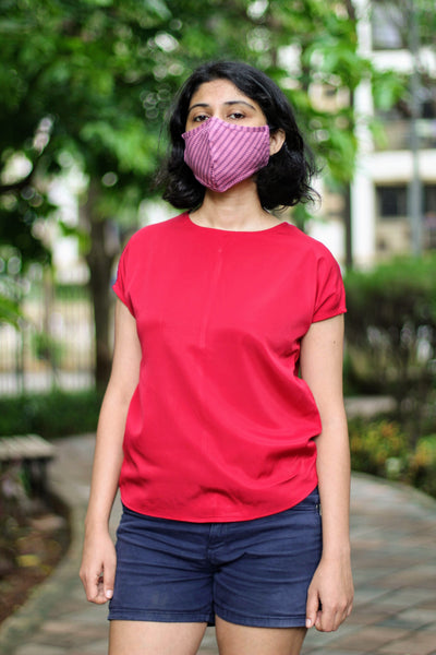 Pink Striped Two Ply Cloth Mask