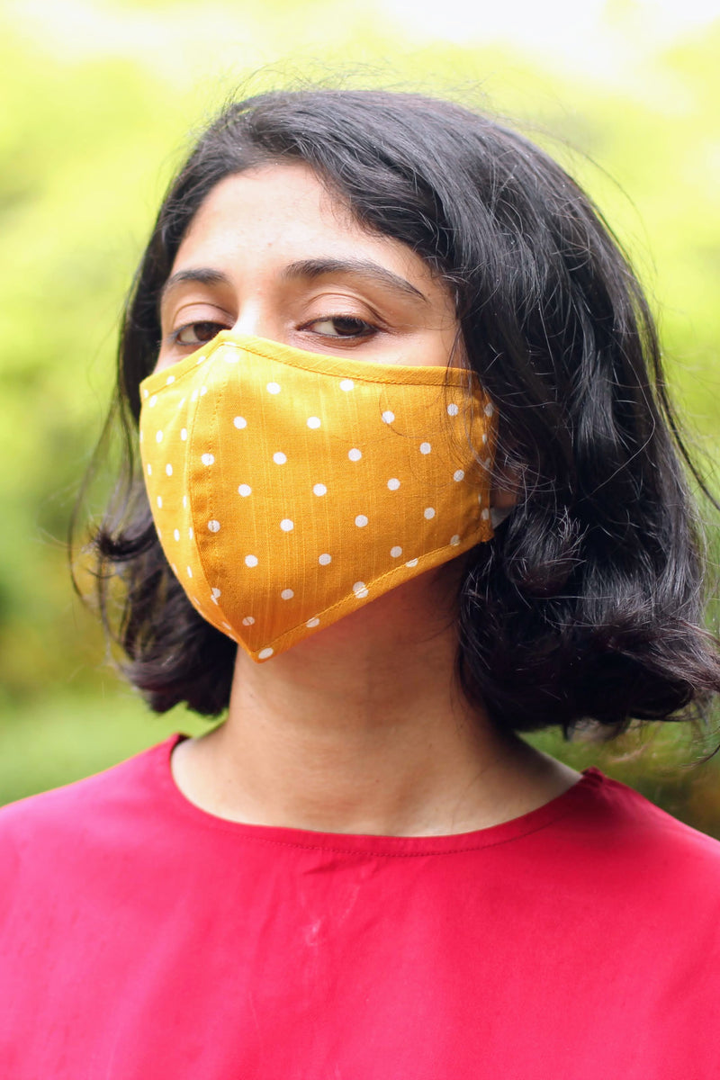 Yellow Polka Two Ply Cotton Mask