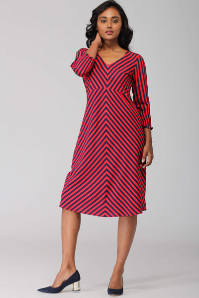 Zanskar A line dress with Ruched sleeve