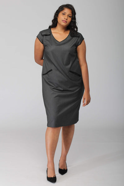 Ithaca Grey Herringbone Shift Dress