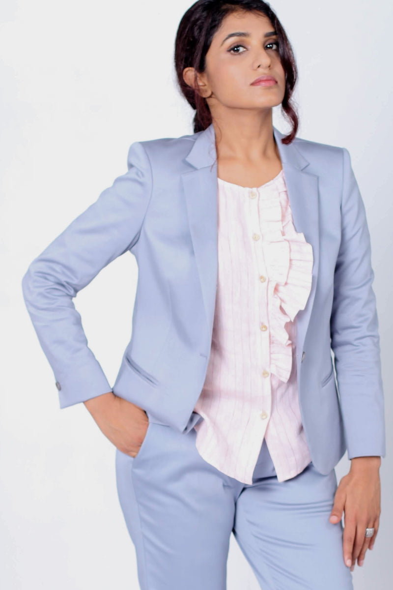 Aqua Blazer in Cotton