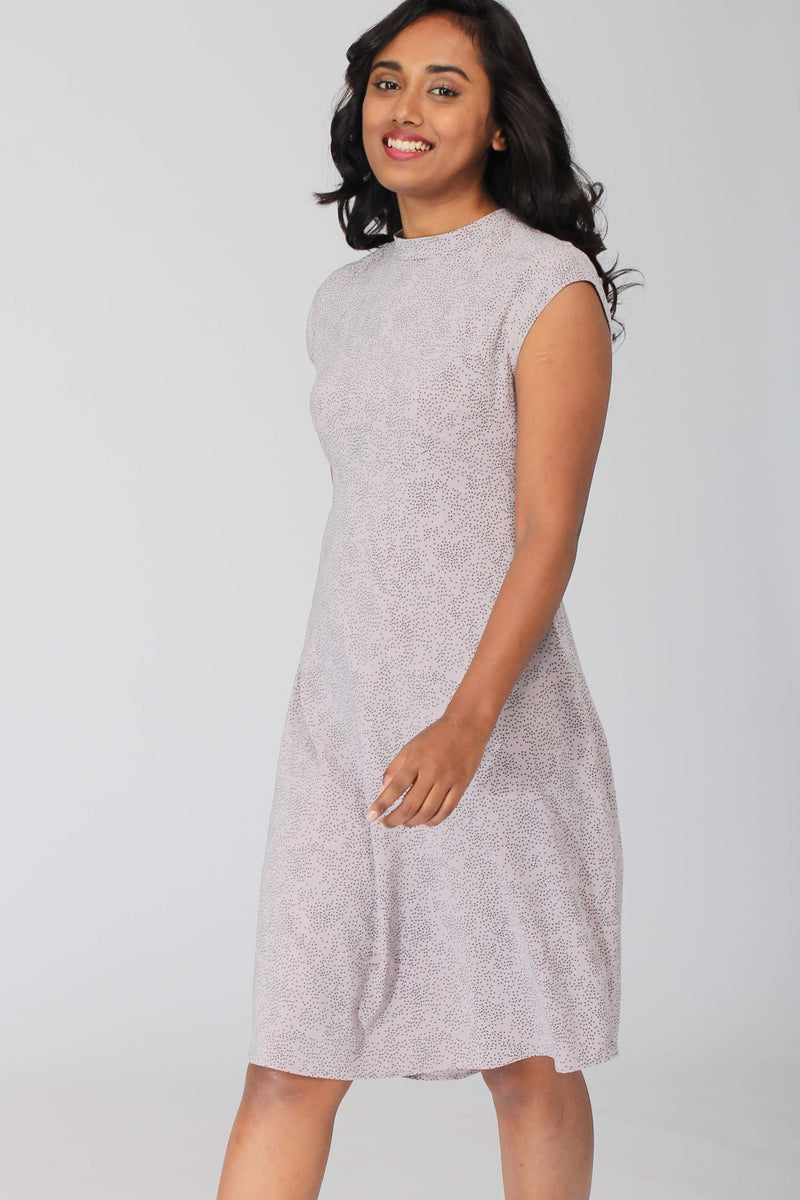 Roma Flowy A line Dress with mock neck