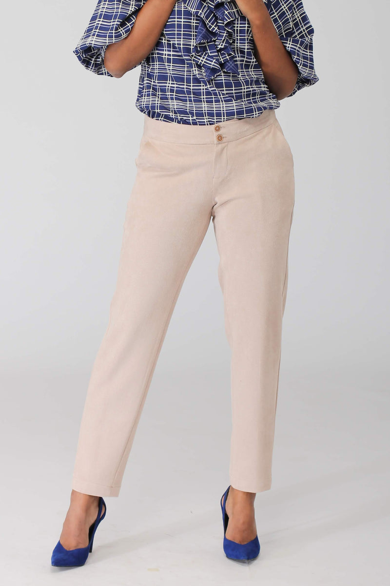 Albany Beige Stretchable Pants with twin buttons