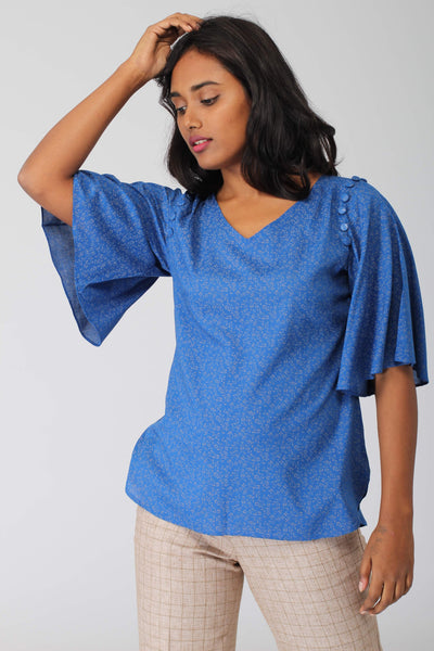 Azure Bell Sleeved Top