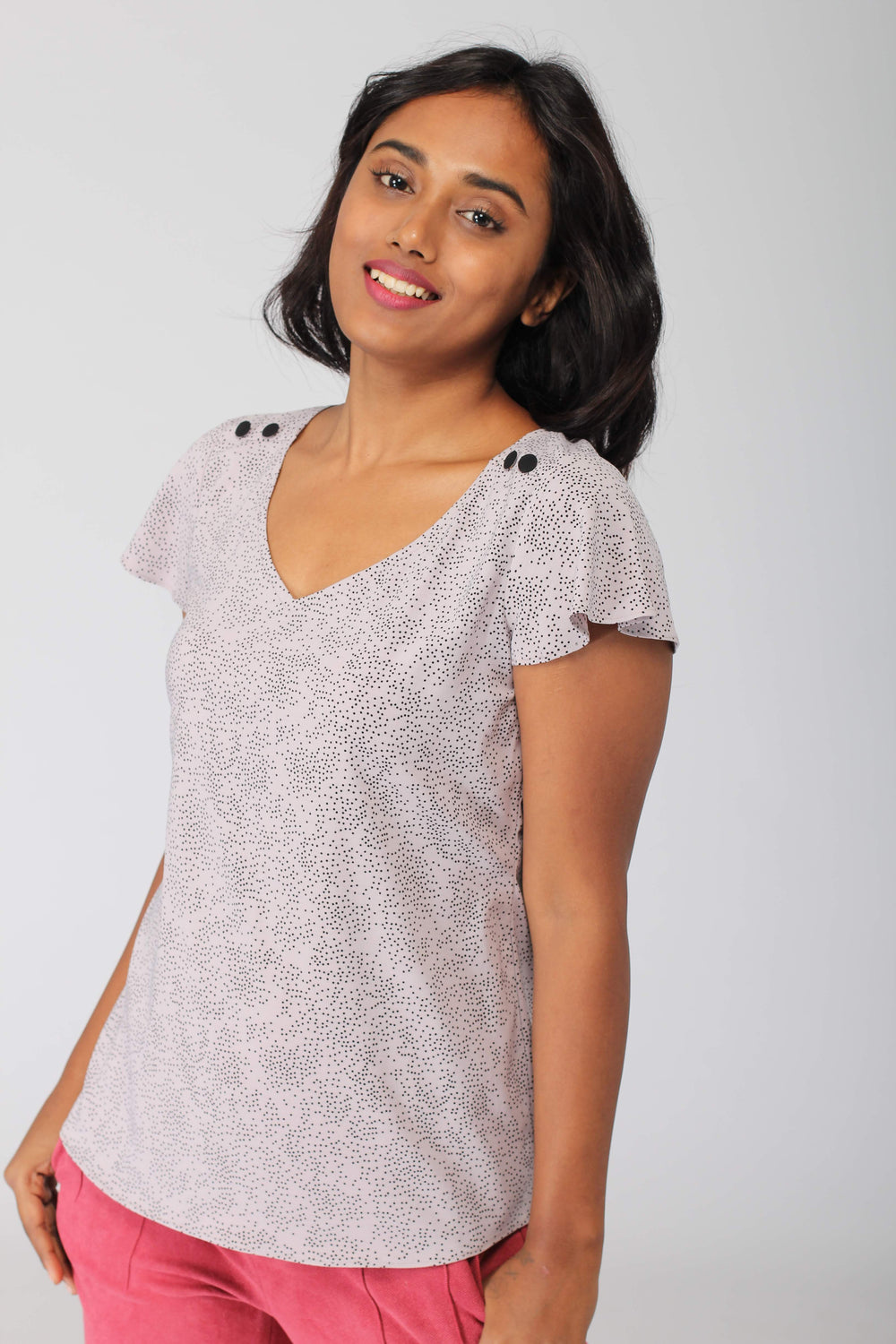 Lilac Soft Top with Mini Bell Sleeves