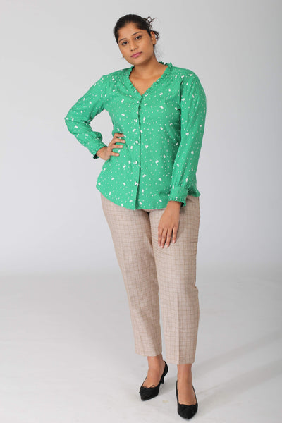 Green Snow Flowy Shirt with Ruffles