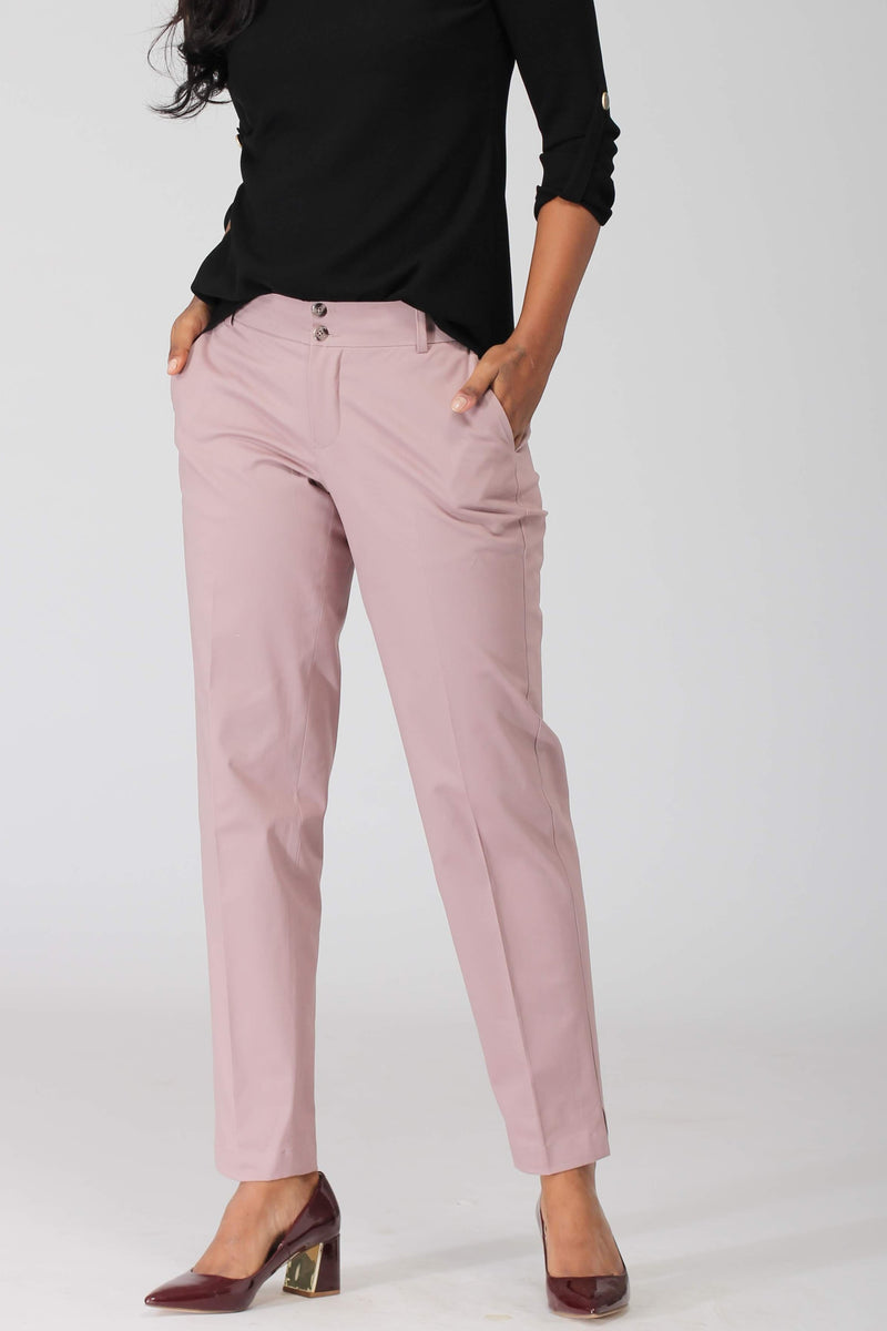 Smoky Pink Cotton Stretch Pants