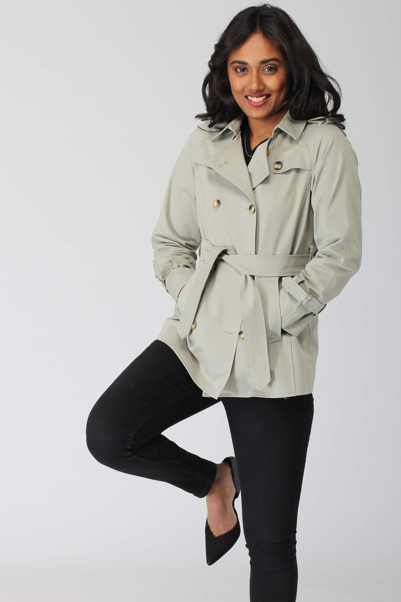 Smoky Green Cotton Trenchcoat