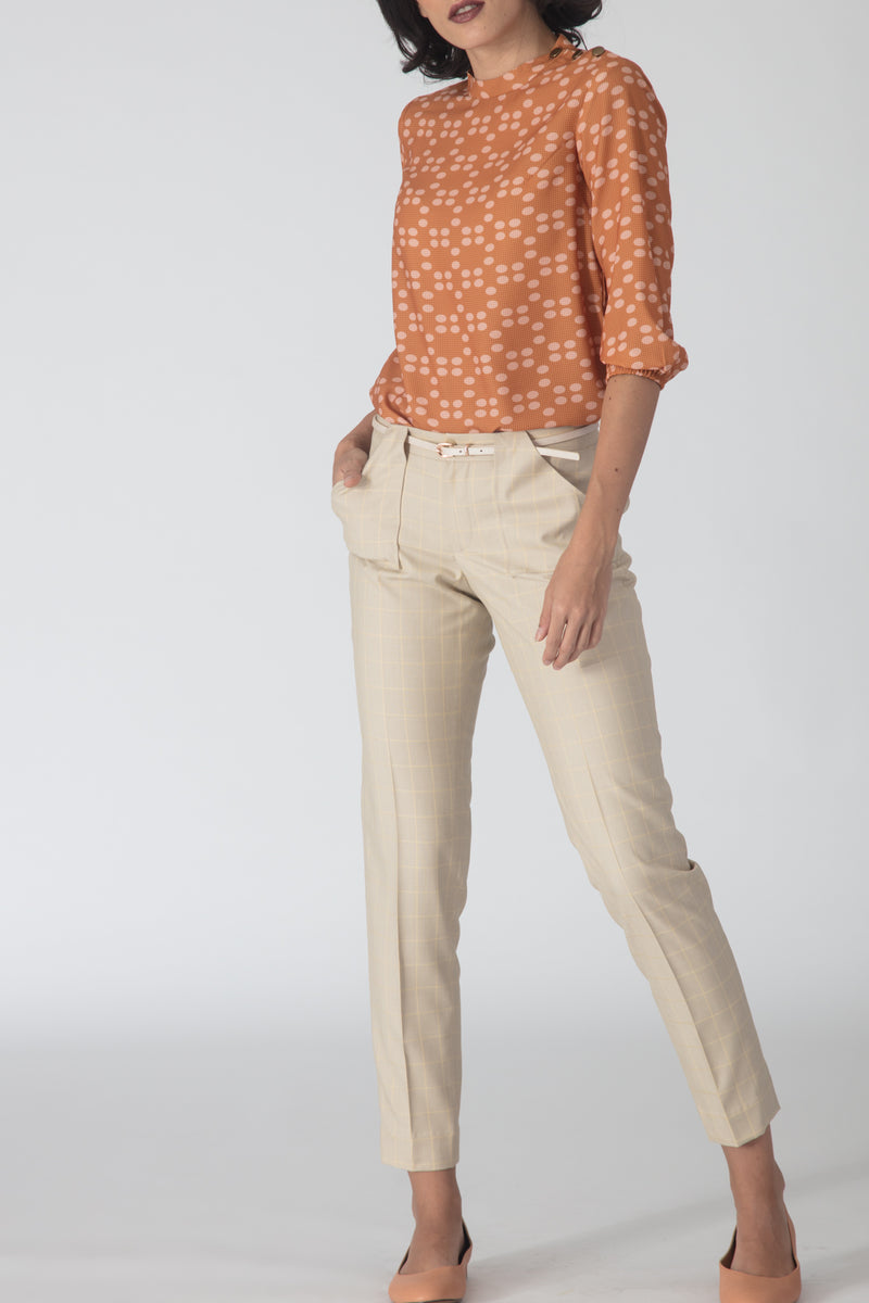 Beige Windowpane Trousers