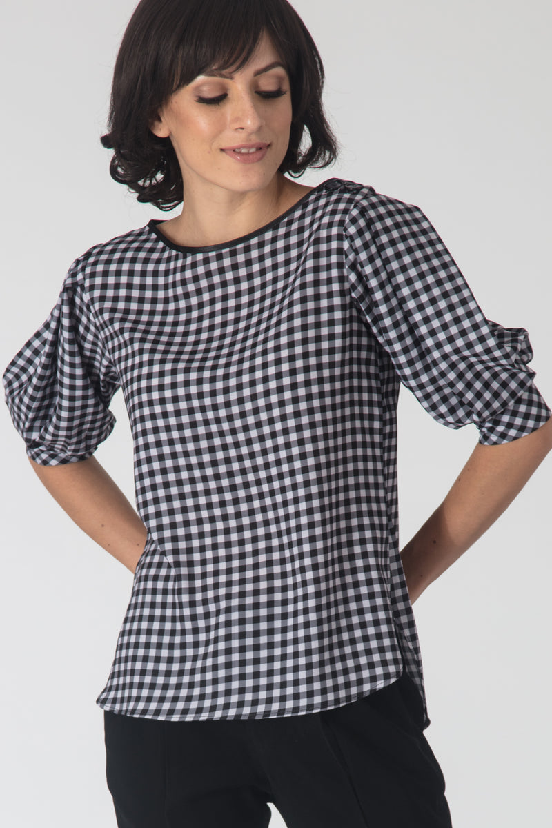 Gingham Shoulder-Button Top