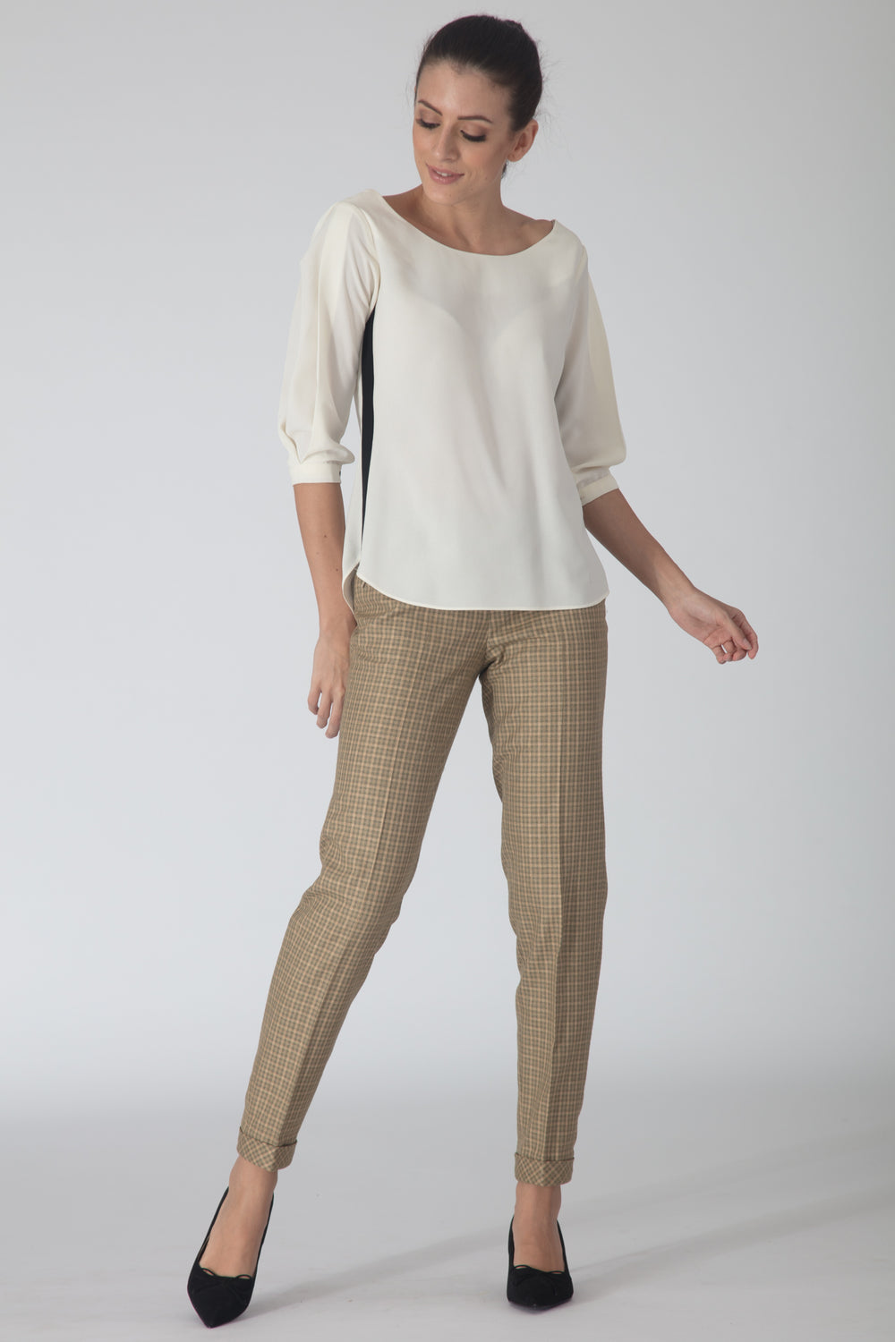 Plaid Button fly Trousers