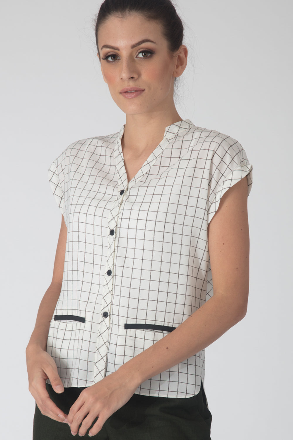 Checkered Flowy Shirt