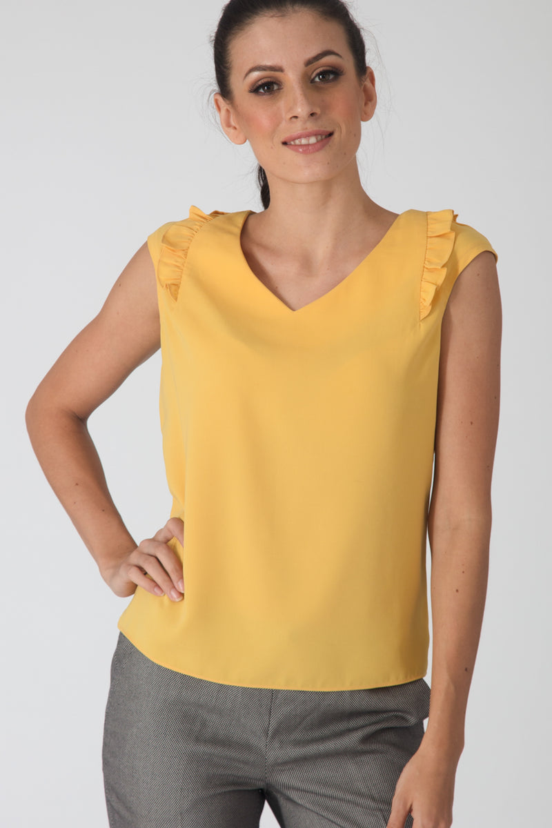 Lemon Ruffle Blouse