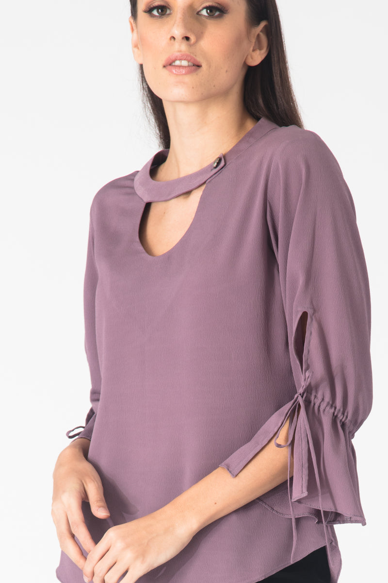 Lilac Slit Sleeves Blouse