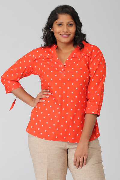 Tangerine Floral Popover Top with Tieup sleeves