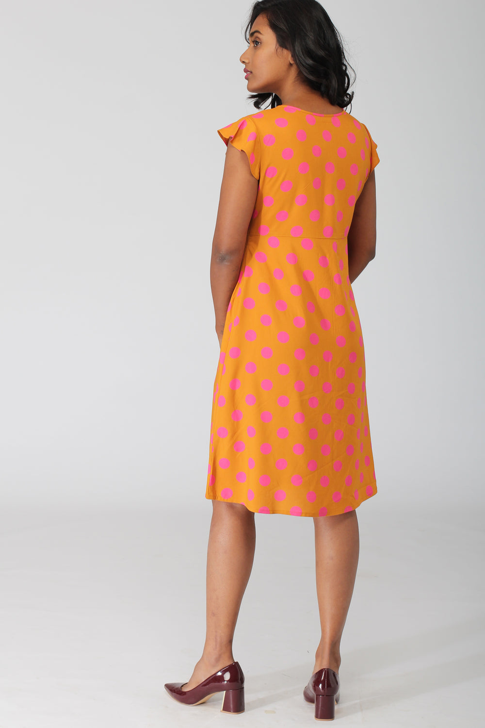 Costa Printed A Line Dress with Pleats