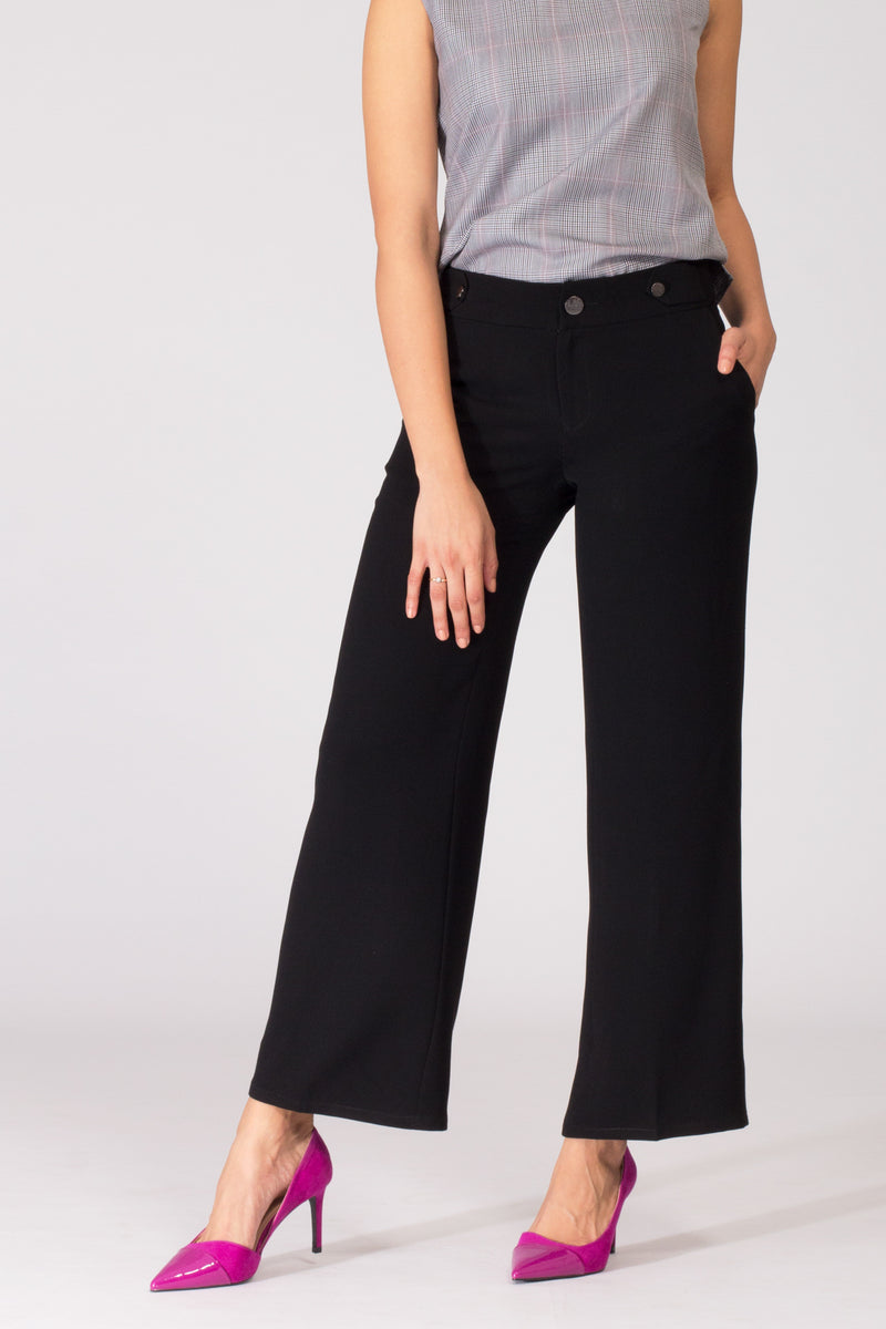 Black wide leg women's formal pants and trousers for office. Shop online for culottes , trousers, and formal palazzo trousers and pants at www.intermod.in