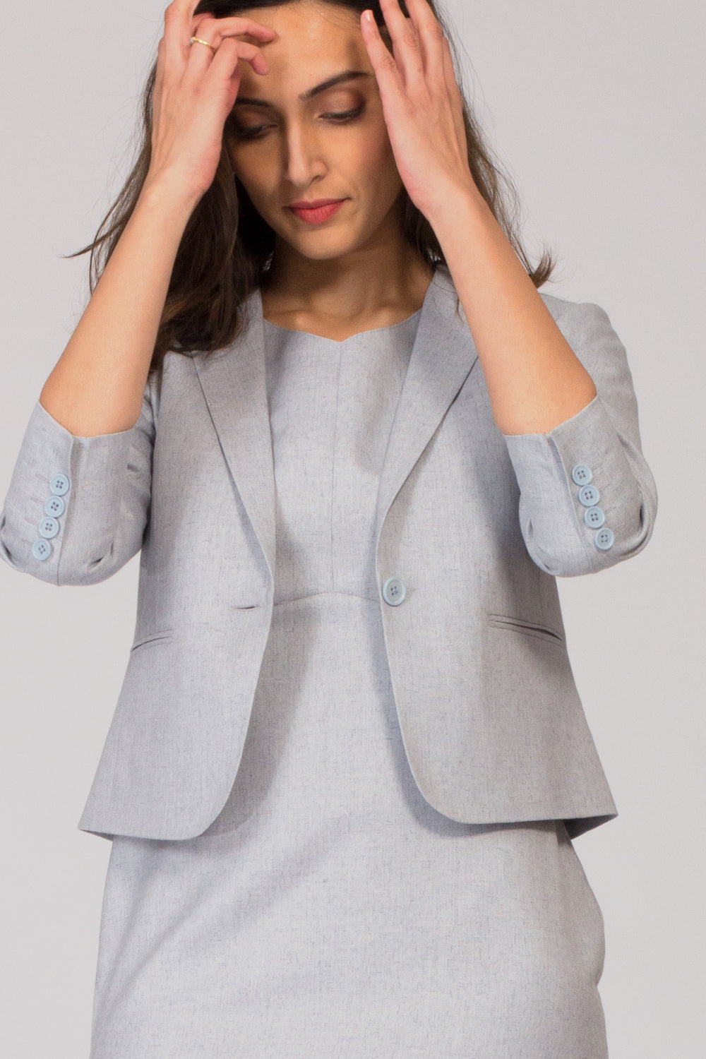 Light Blue Semi Formal Blazer Suit for work. Buy stylish office formal pant-suits, formal dresses, skirts and formal trousers and other professional looks online at www.intermod.in