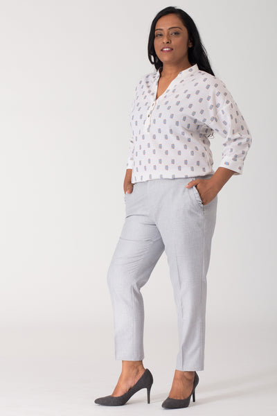 Smart and stylish women's formal pants and trousers for office. Shop online for plus size formal trousers and pants at www.intermod.in