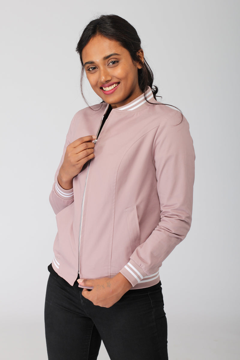 Smoky Pink Cotton Bomber Jacket