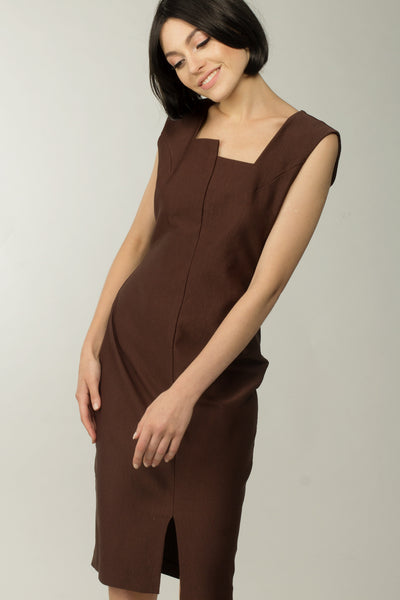 Oak Boxy Neck Dress