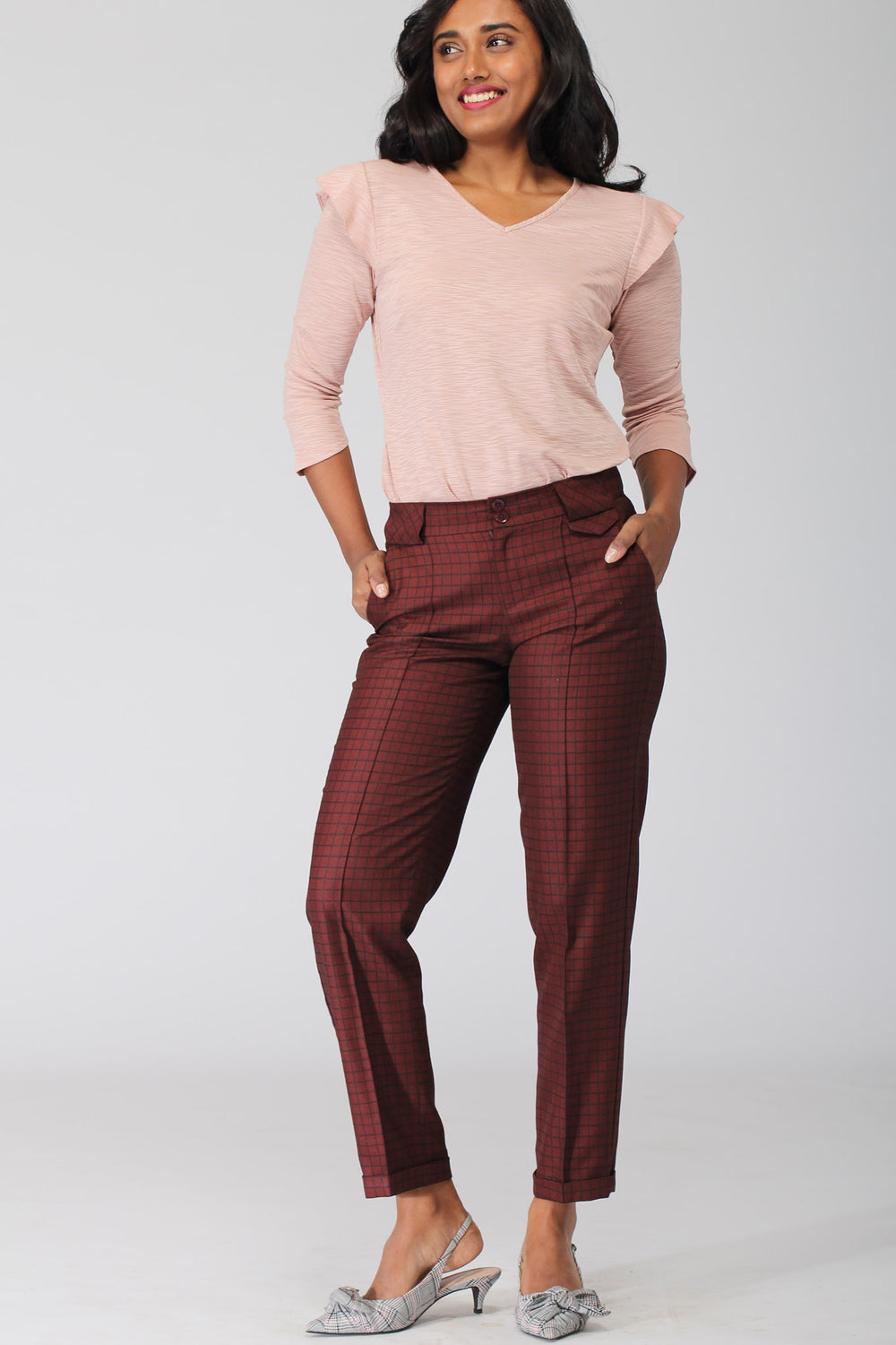 Rochelle Deep Red Cropped Pants