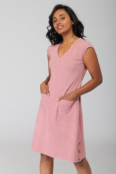 Carnation Pink A line Dress with patch pockets